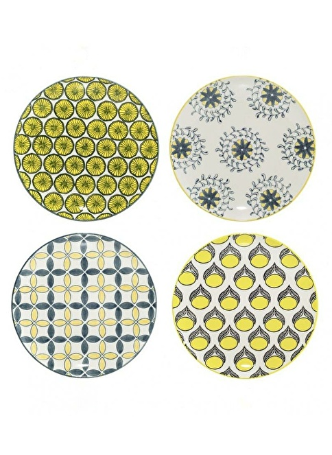 Warm Design 4'lü Handmade Seramik Tabak Seti Renkli